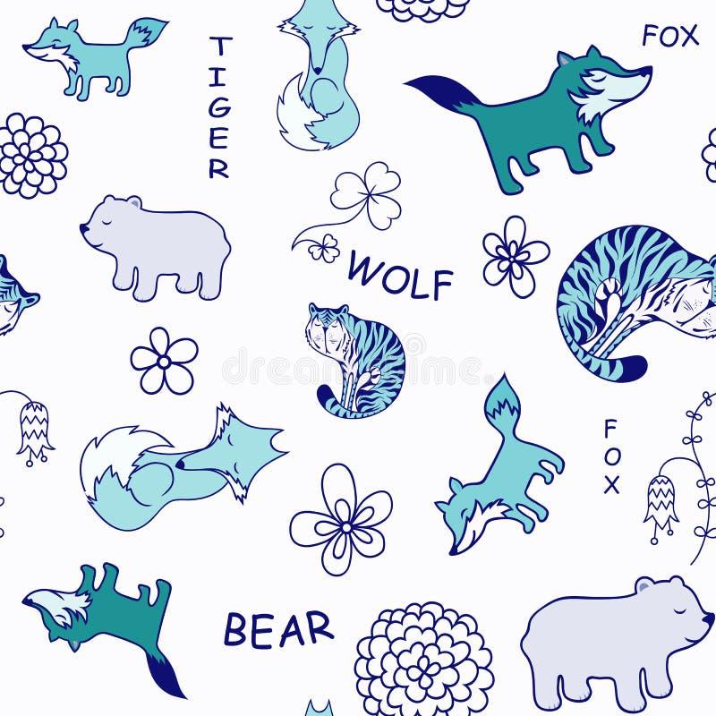 Modèle sans couture animal drôle de vecteur avec le fond blanc illustration stock