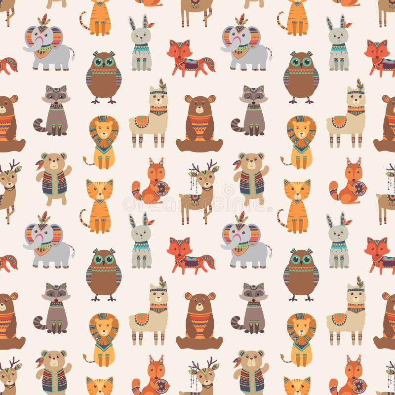 Modèle sans couture animal tribal Les animaux ethniques de style dirigent la texture illustration de vecteur