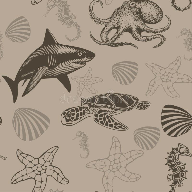 Modèle sans couture aquatique, illustration de vecteur illustration libre de droits