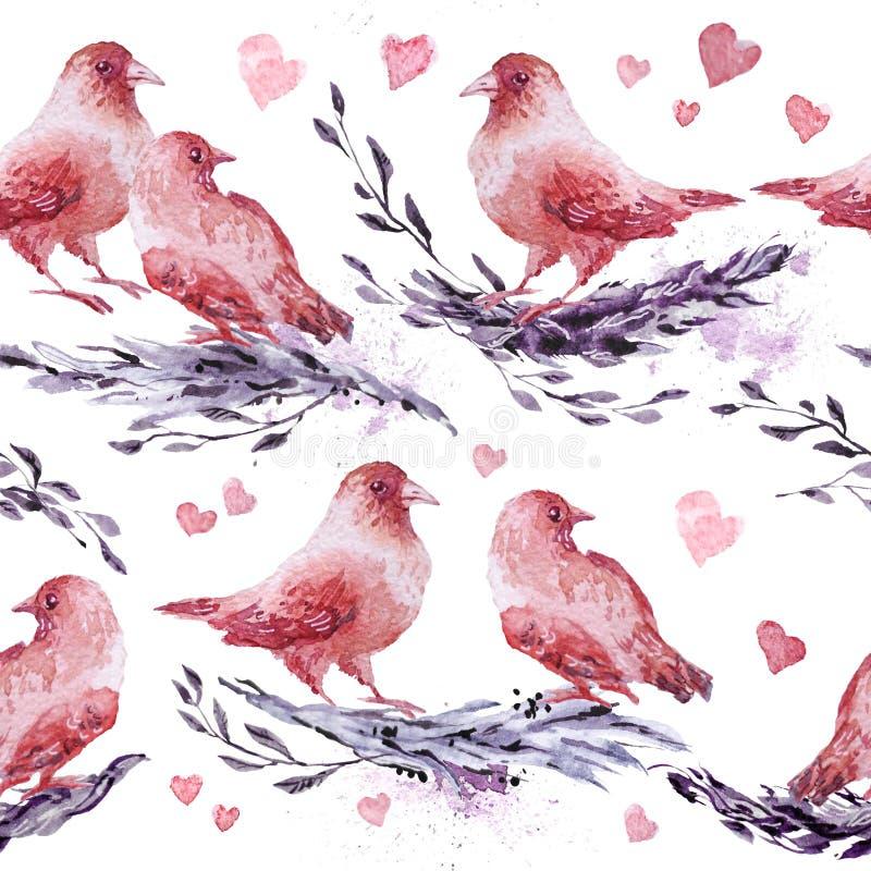 Modèle sans couture artistique tiré par la main d'aquarelle avec les éléments peints - oiseaux et brunchs illustration stock
