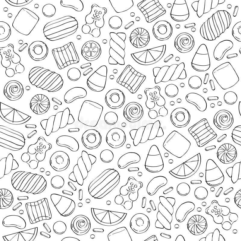 Modèle sans couture assorti de bonbons illustration stock