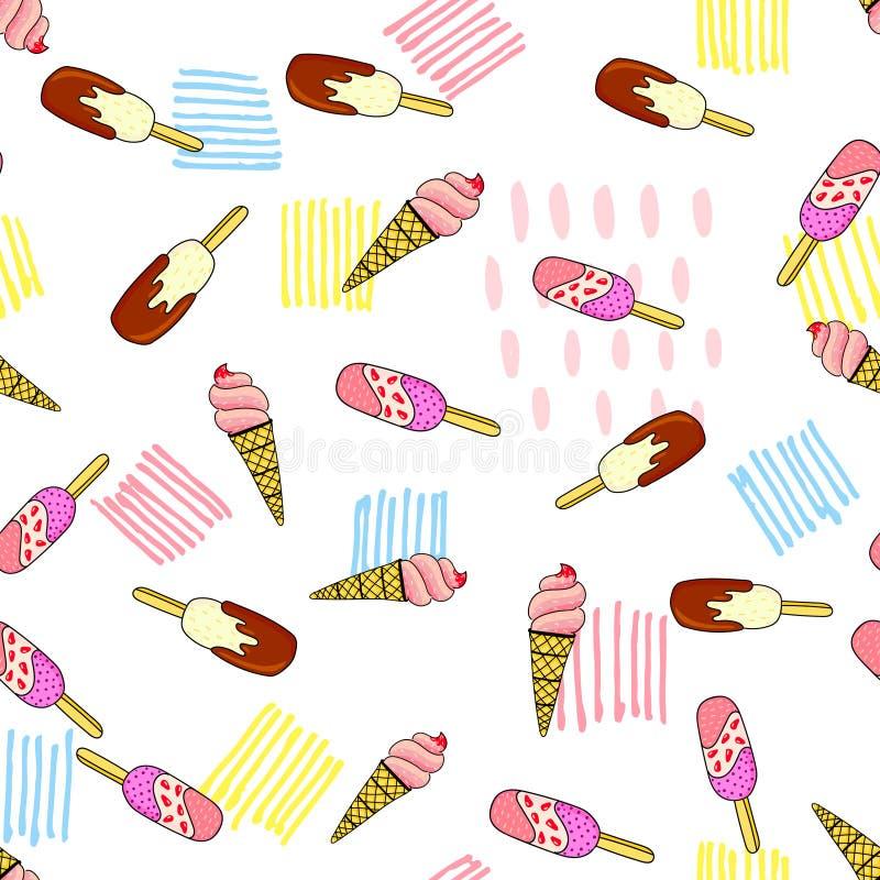 Modèle sans couture assorti de crème glacée  illustration stock