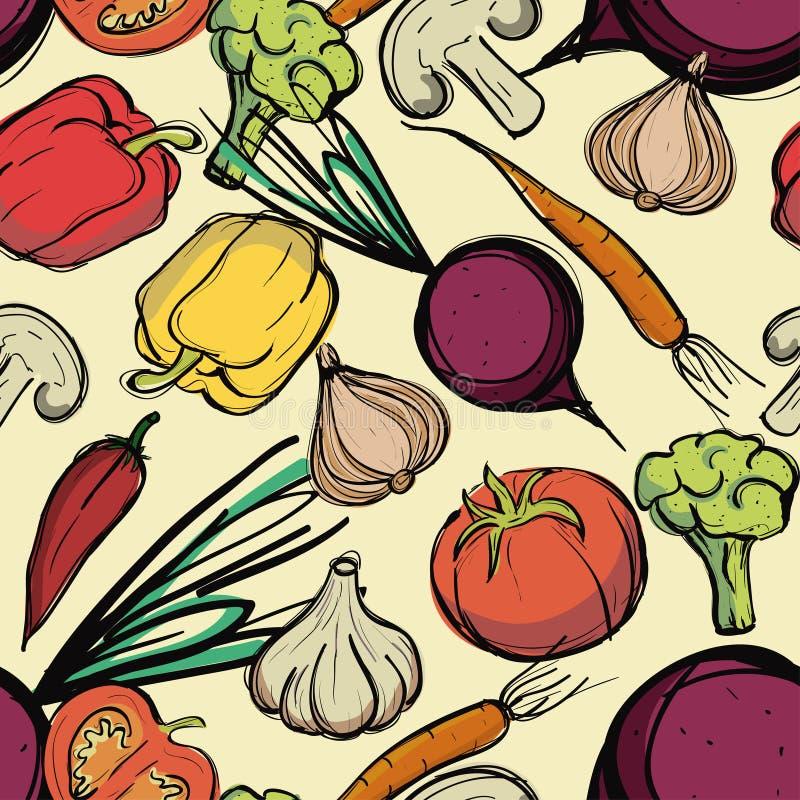 Modèle sans couture assorti de légumes illustration libre de droits