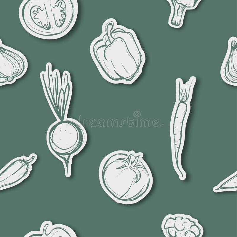 Modèle sans couture assorti de légumes illustration de vecteur