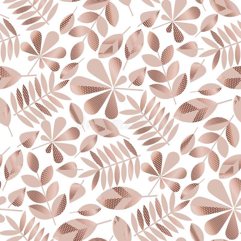 Modèle sans couture assorti par or de feuilles d'automne de Rose illustration libre de droits