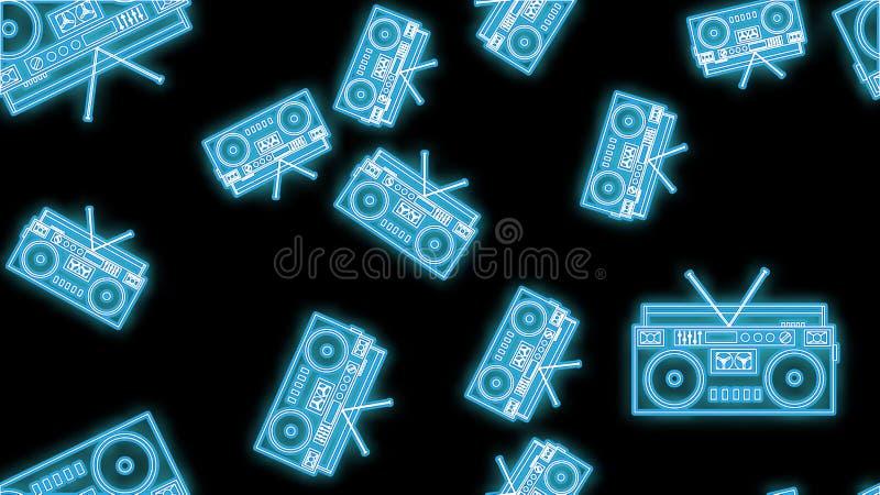 Modèle sans couture au néon de beau résumé des icônes lumineuses lumineuses de vieux rétros magnétophones à cassettes de musique  illustration stock