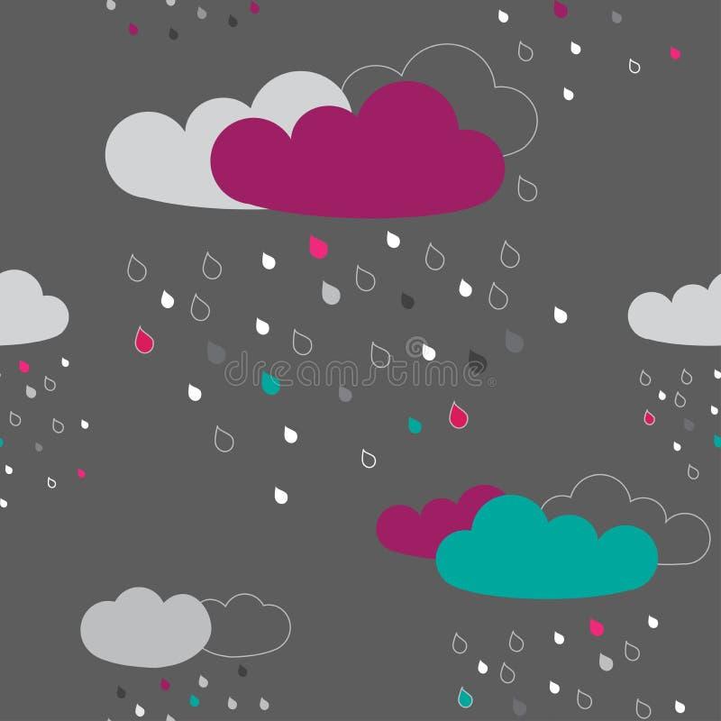 Modèle sans couture avec c pluvieux coloré illustration de vecteur