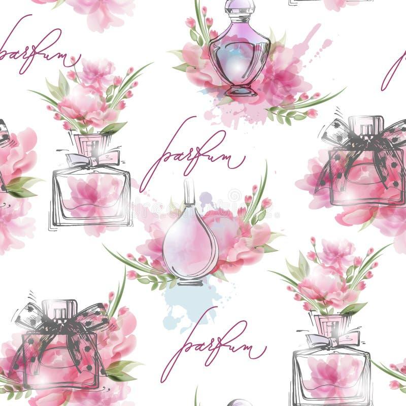 Modèle sans couture avec de belles bouteilles de parfum Le parfum des femmes Vecteur illustration stock