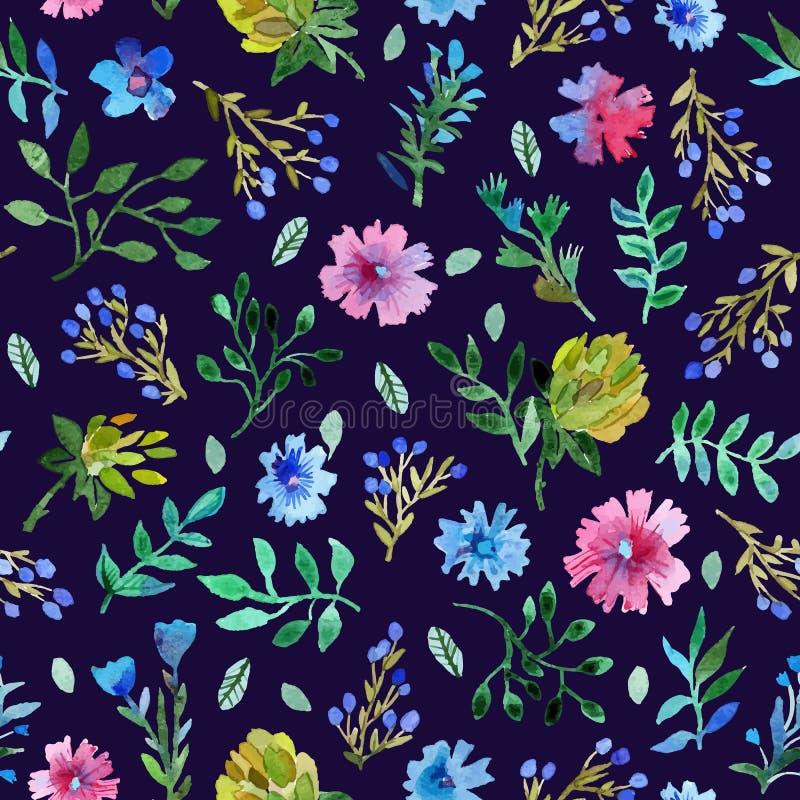 Modèle sans couture avec de belles fleurs et feuilles illustration libre de droits