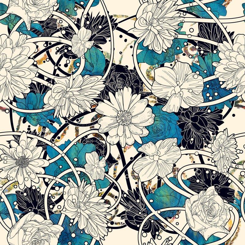 Modèle sans couture avec de belles fleurs sur le fond blanc illustration de vecteur