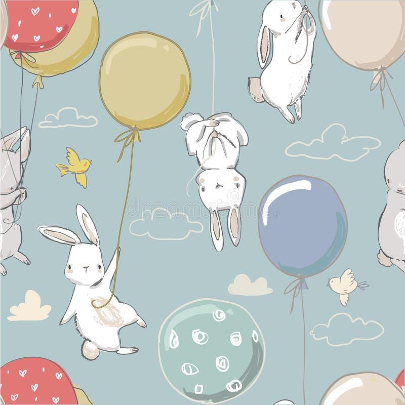 Modèle sans couture avec de petits lièvres mignons illustration libre de droits