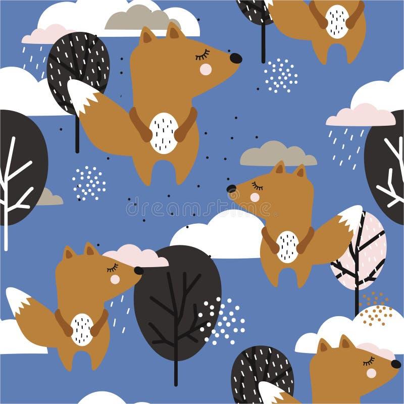 Modèle sans couture avec des écureuils, des arbres et des nuages Fond color? illustration de vecteur