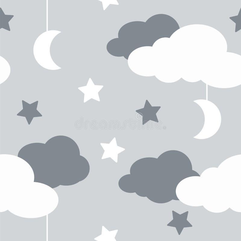 Modèle sans couture avec des éléments de ciel dans style de schéma, nuit grise illustration stock