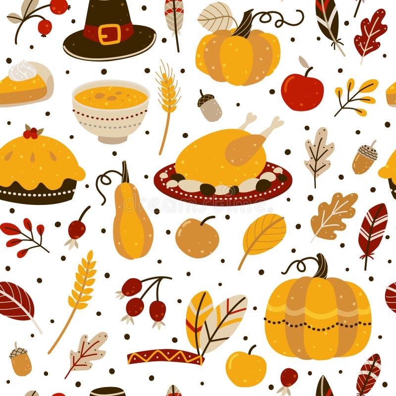 Modèle sans couture avec des éléments de jour de thanksgiving illustration libre de droits