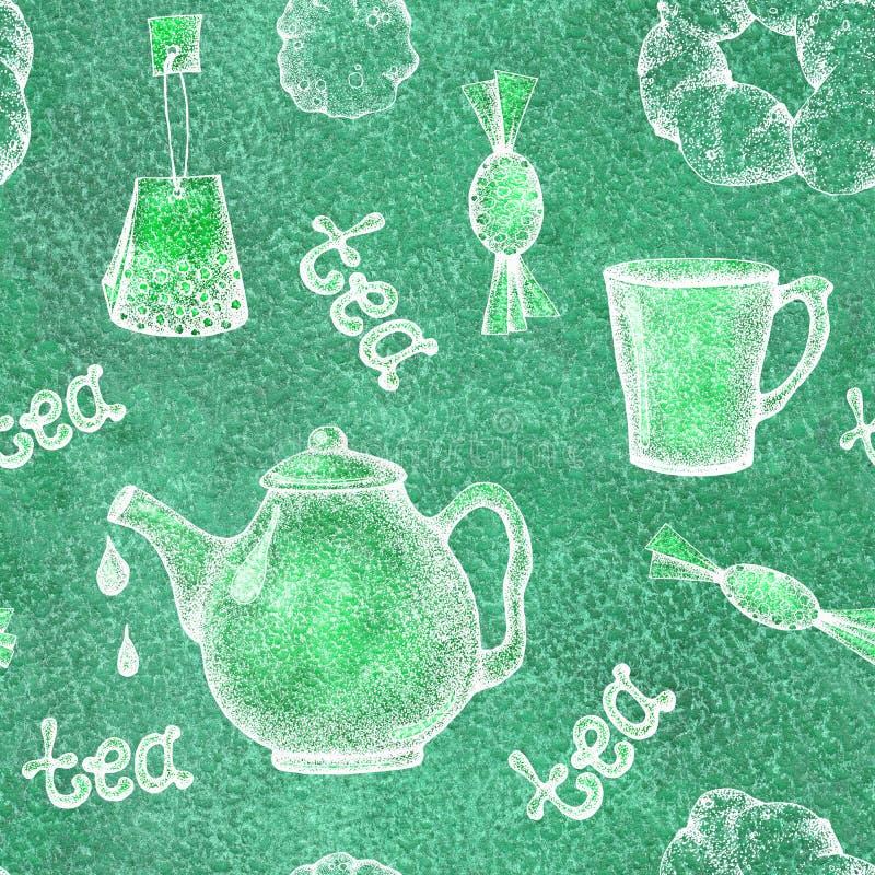 Modèle sans couture avec des éléments théière, tasse, tasse, sucrerie, cuisson de thé Pour la conception de papier peint, emballa illustration libre de droits