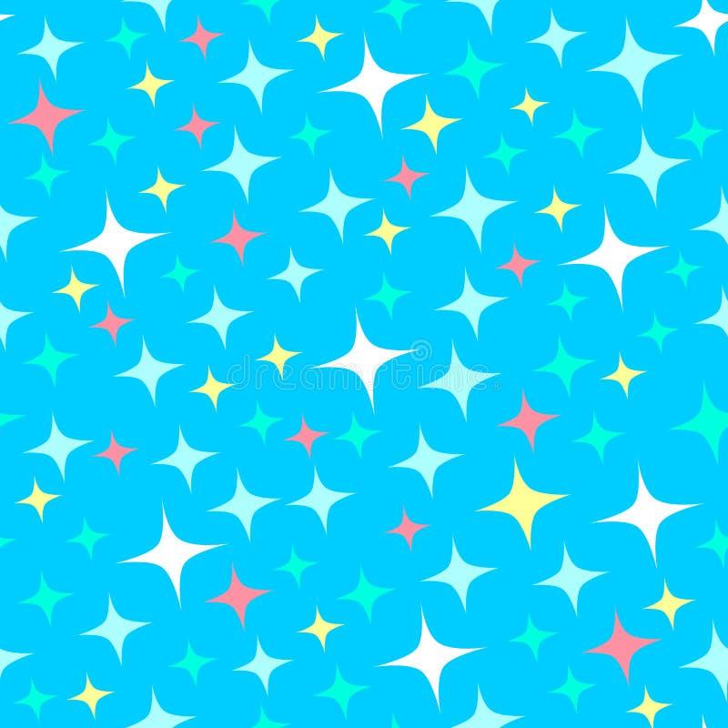 Modèle sans couture avec des étincelles de lumière des étoiles, étoiles de scintillement Fond bleu brillant Type de dessin animé illustration libre de droits