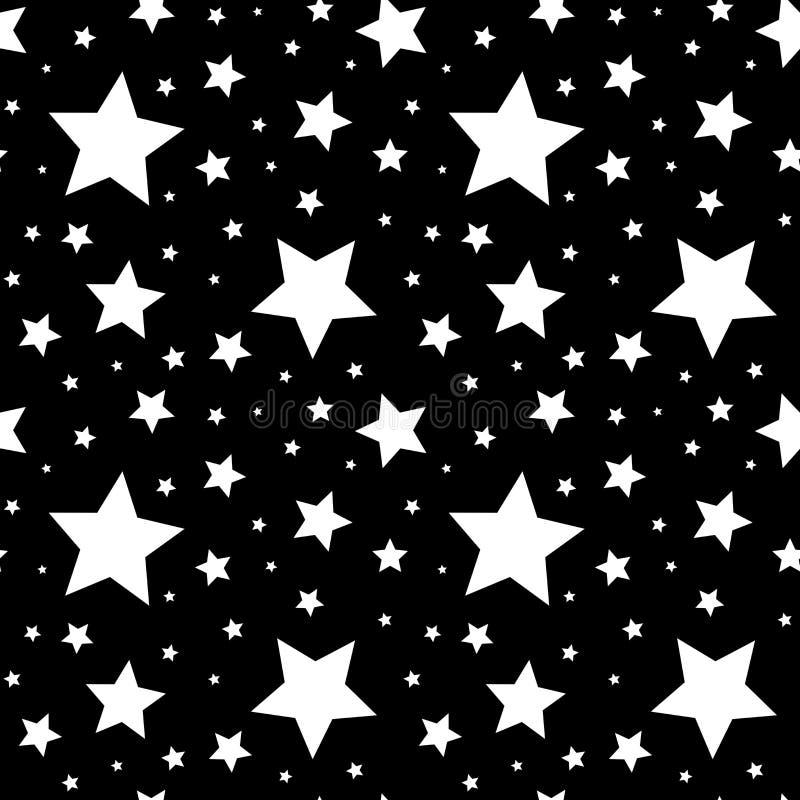 Modèle sans couture avec des étoiles de blanc sur le noir Illustration de vecteur illustration de vecteur