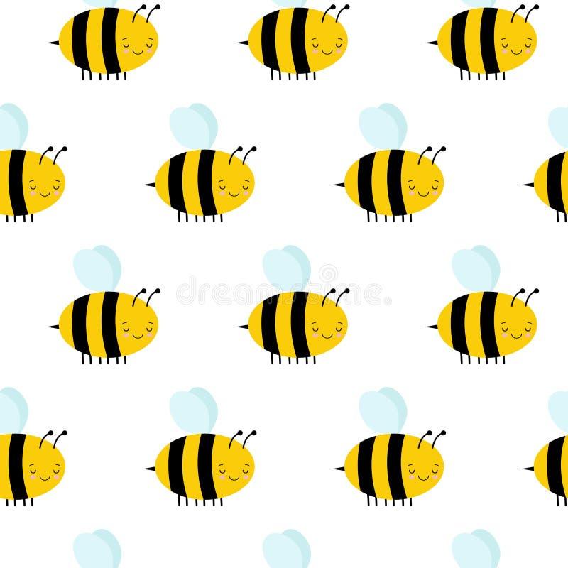 Modèle sans couture avec des abeilles de vol sur un fond blanc illustration libre de droits