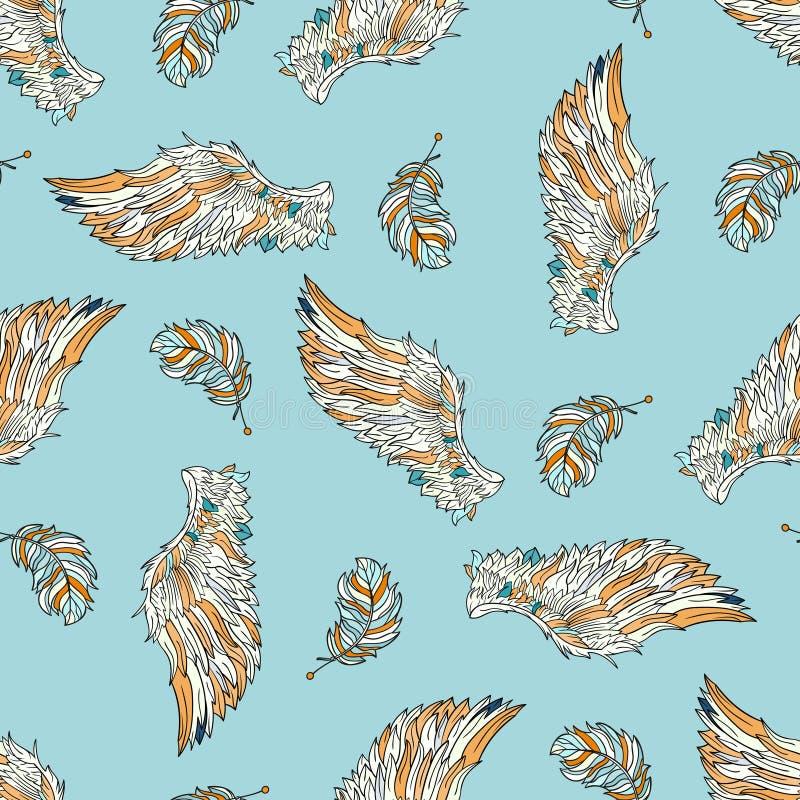 Download Modèle Sans Couture Avec Des Ailes D'ange Illustration de Vecteur - Illustration du griffonnage, floral: 77160649