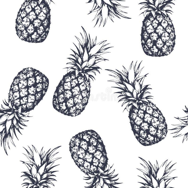 Modèle sans couture avec des ananas, tirés par la main dans le style graphique Illustration de vecteur illustration stock
