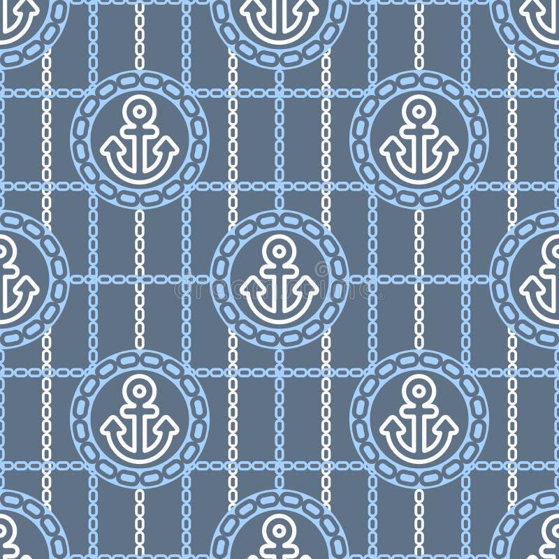 Modèle sans couture avec des ancres Milieux actuels de thème marin illustration libre de droits