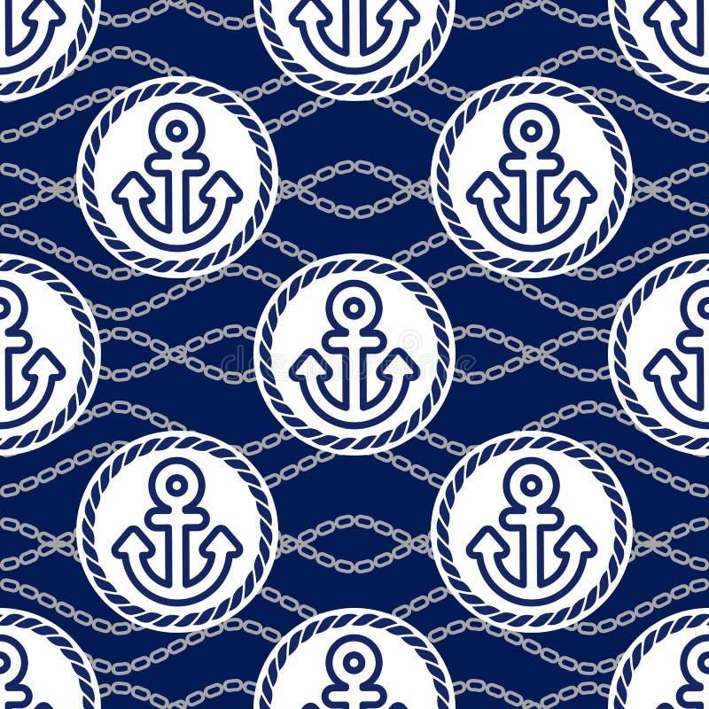 Modèle sans couture avec des ancres Milieux actuels de thème marin illustration stock