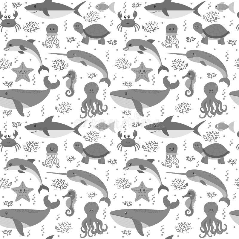 Modèle sans couture avec des animaux de vie marine de bande dessinée Thème de mer sous illustration libre de droits