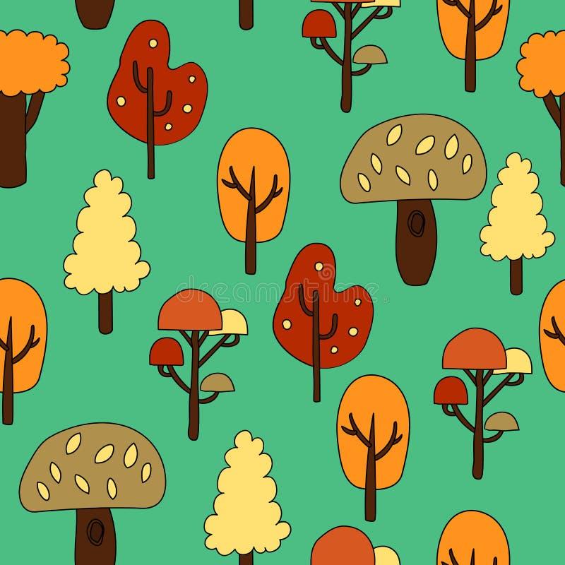 Modèle sans couture avec des arbres d'automne Illustration de vecteur illustration de vecteur