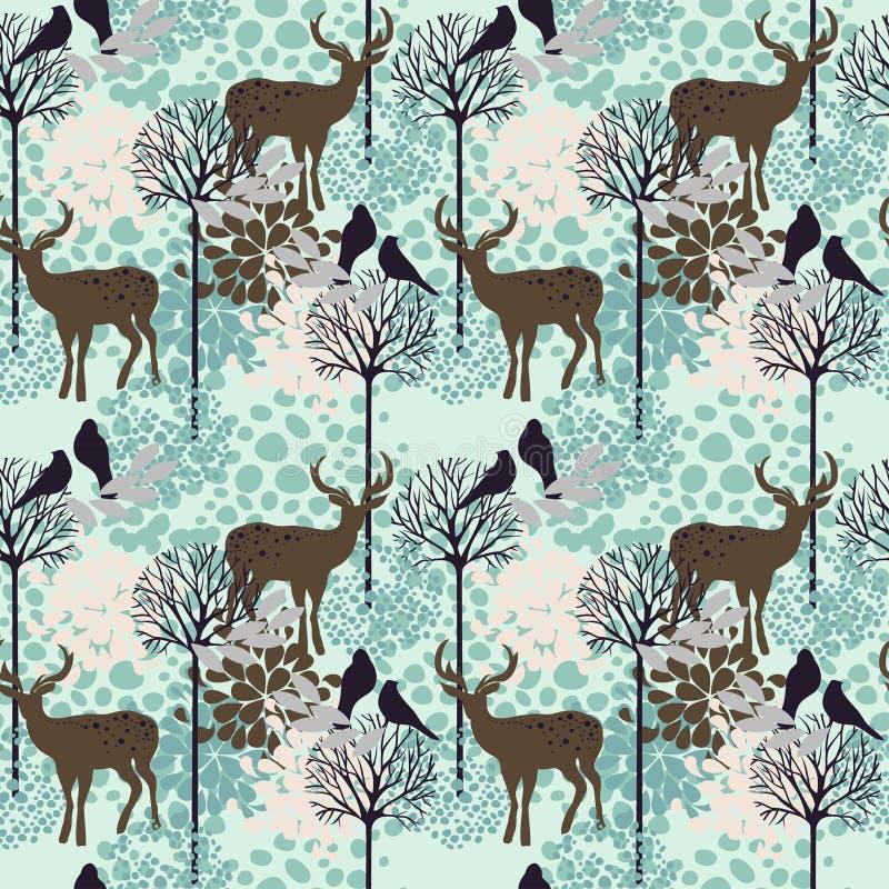 Modèle sans couture avec des arbres, des cerfs communs et des oiseaux illustration de vecteur
