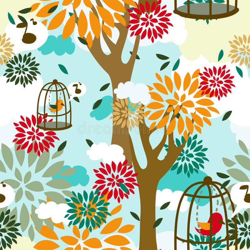Modèle sans couture avec des arbres, des oiseaux dans la cage et l'ornement floral illustration libre de droits