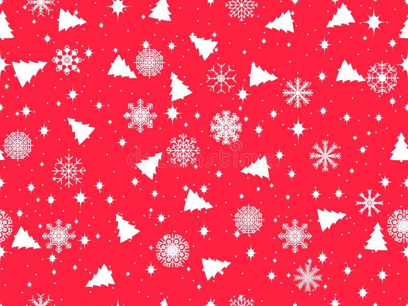 Modèle sans couture avec des arbres et des flocons de neige de Noël Modèle d'hiver Vecteur illustration de vecteur
