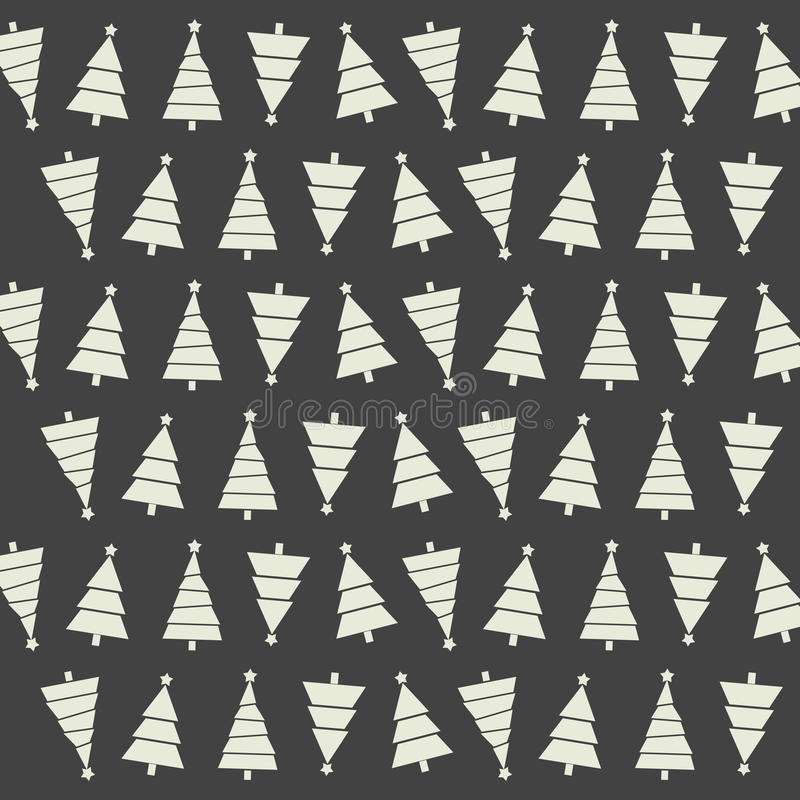 Modèle sans couture avec des arbres et des neige de Noël sur le backgrou foncé illustration stock