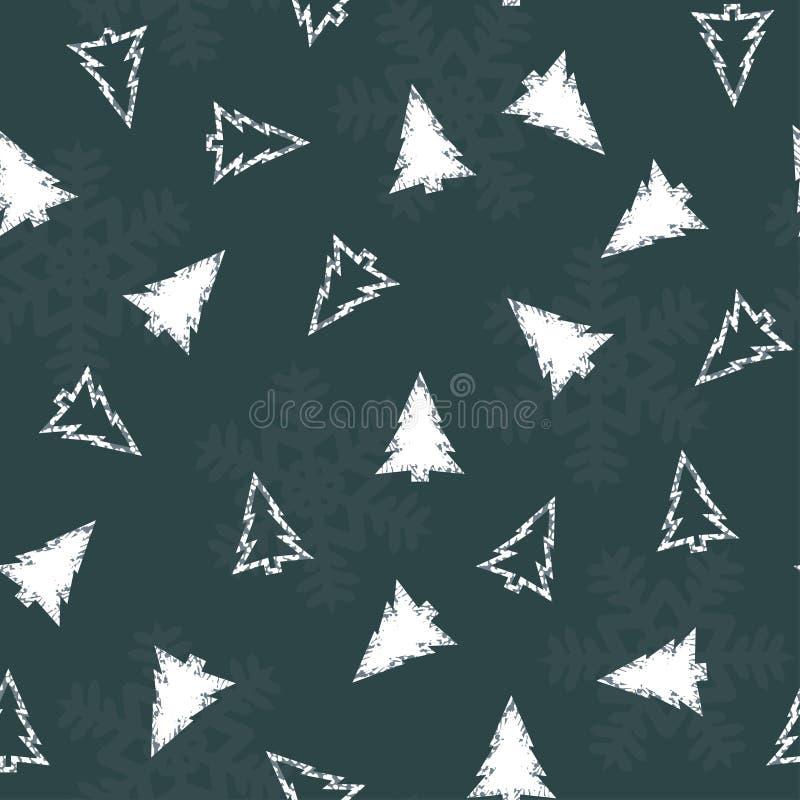 Modèle sans couture avec des arbres et des flocons de neige de Noël blanc sur un fond bleu Vecteur illustration libre de droits