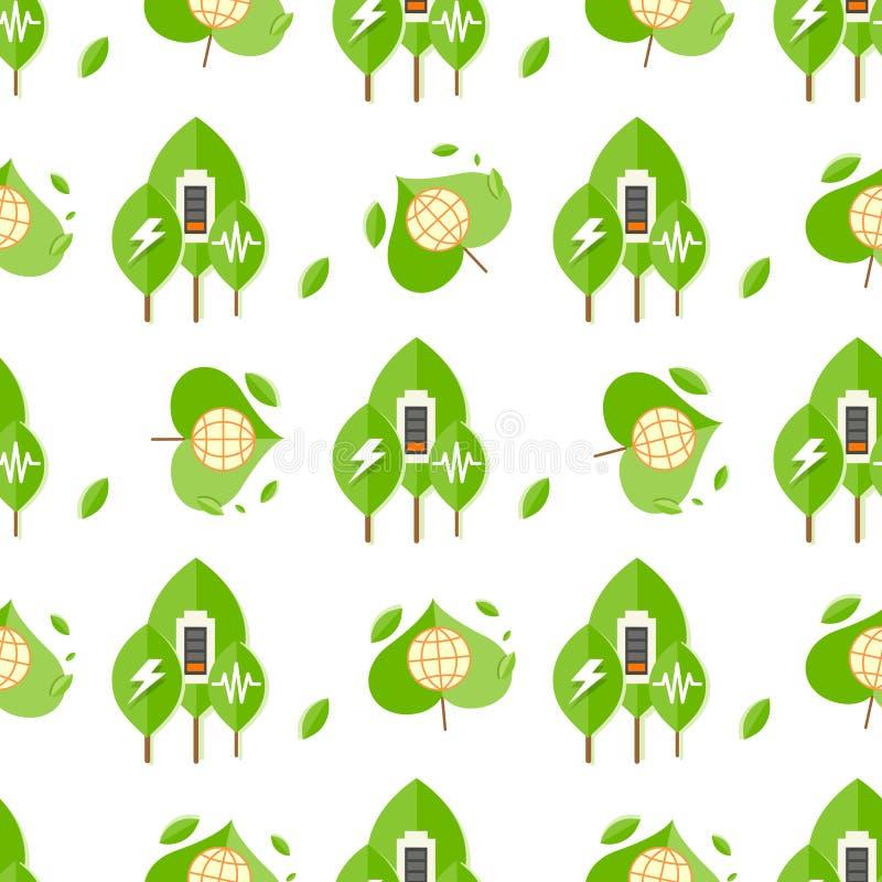 Modèle sans couture avec des arbres, signes de batterie, globe illustration stock
