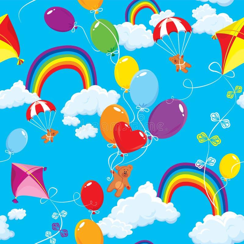 Modèle sans couture avec des arcs-en-ciel, nuages, b coloré illustration libre de droits