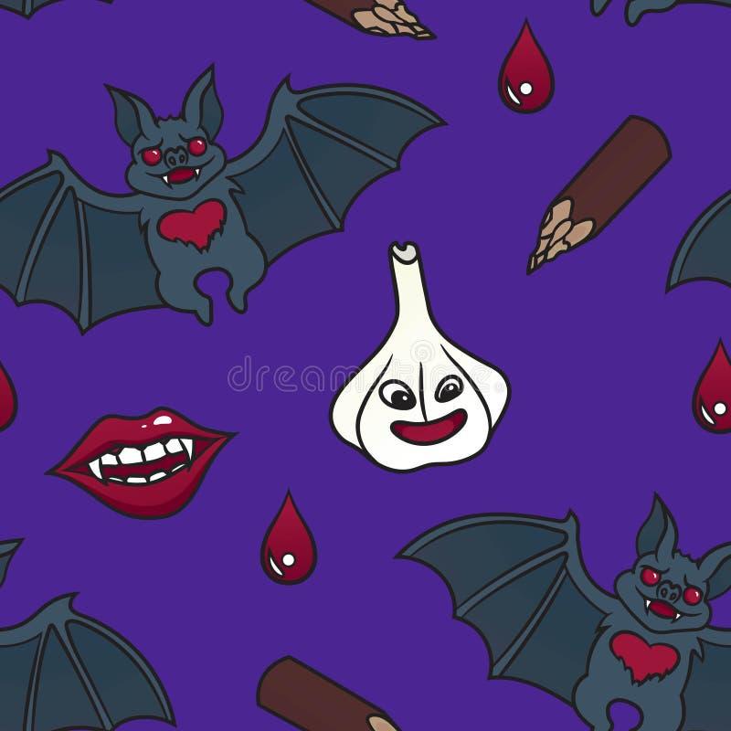 Modèle sans couture avec des articles de vampire illustration libre de droits