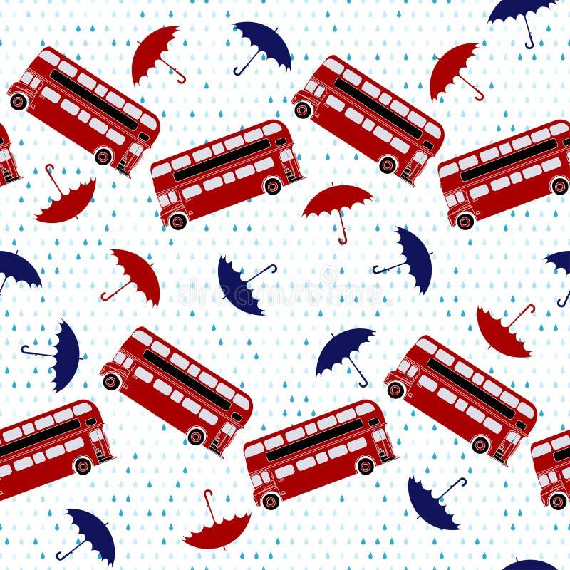 Modèle sans couture avec des autobus à impériale et des parapluies sous le Th illustration libre de droits