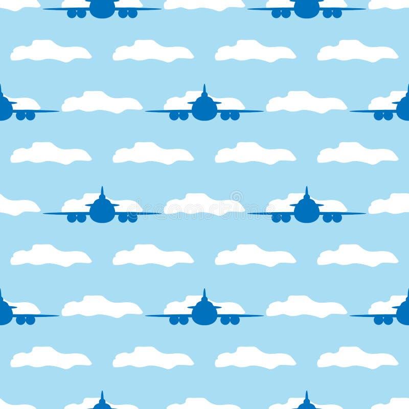 Modèle sans couture avec des avions et des nuages Illustration de vecteur illustration stock