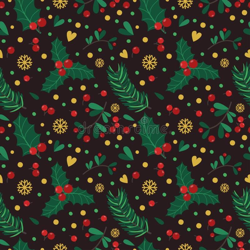 Modèle sans couture avec des baies, des feuilles et des brindilles sur le fond noir illustration stock