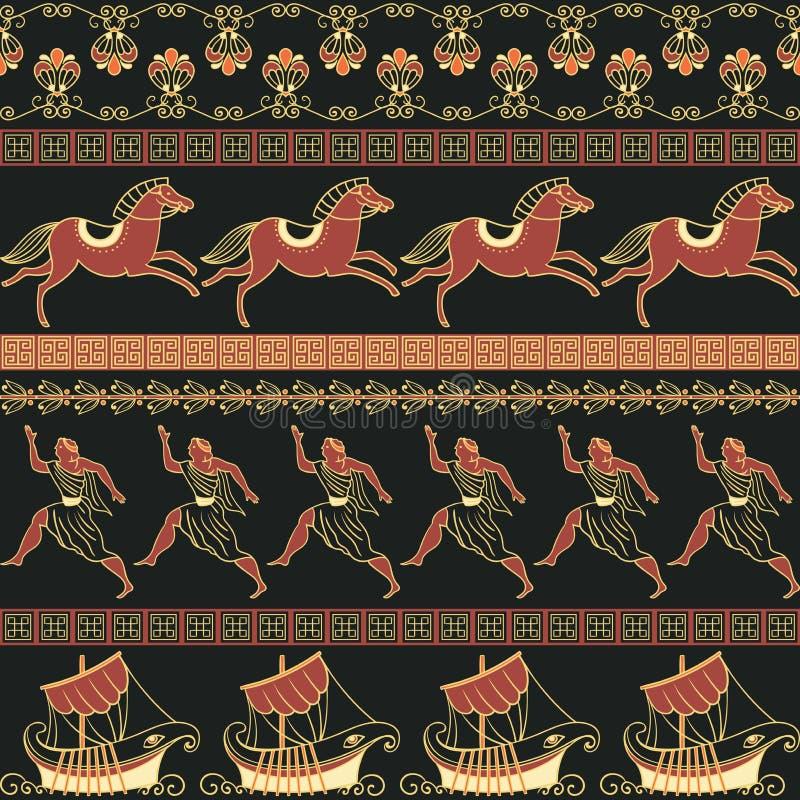 Modèle sans couture avec des bateaux, des personnes, des chevaux et l'ornement du grec ancien Origine ethnique traditionnelle illustration libre de droits