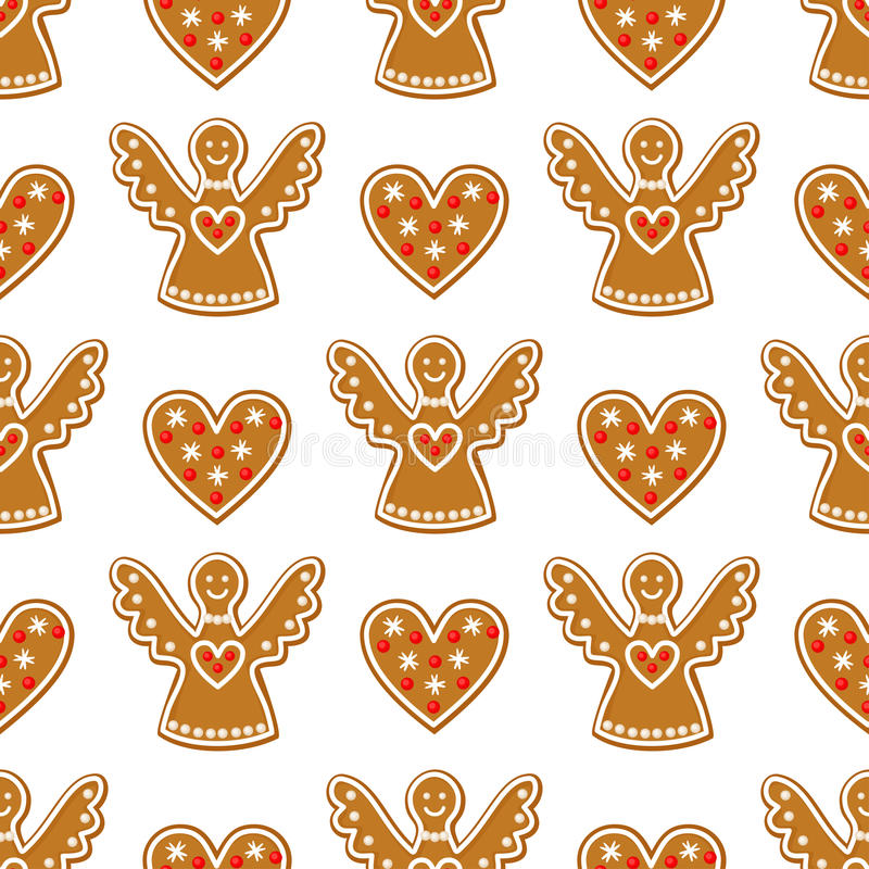 Modèle sans couture avec des biscuits de pain d'épice de Noël - ange et amoureux illustration stock