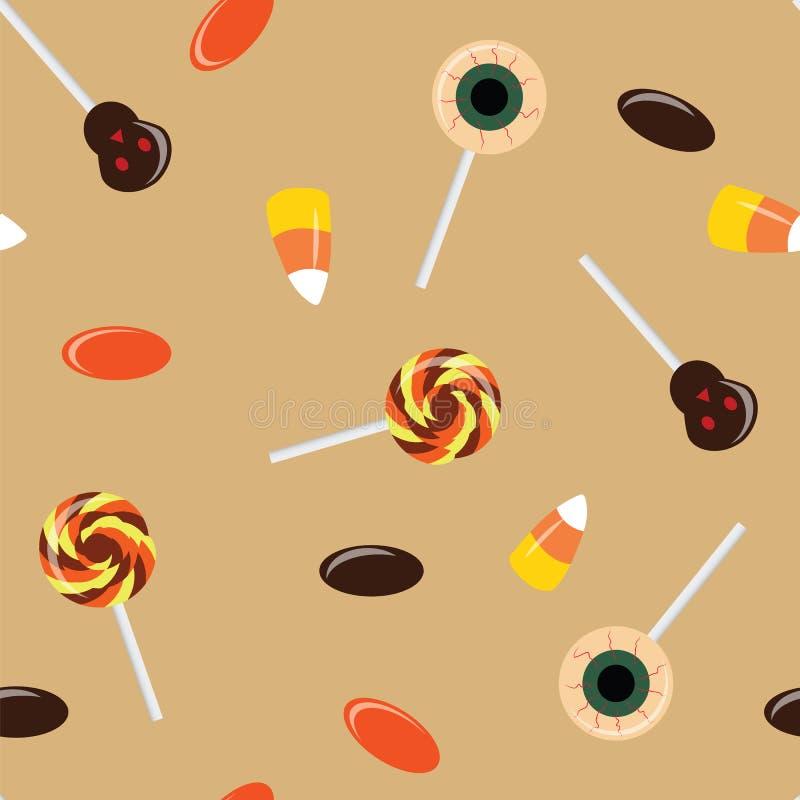 Modèle sans couture avec des bonbons à Halloween Sucrerie de maïs, lucettes illustration stock