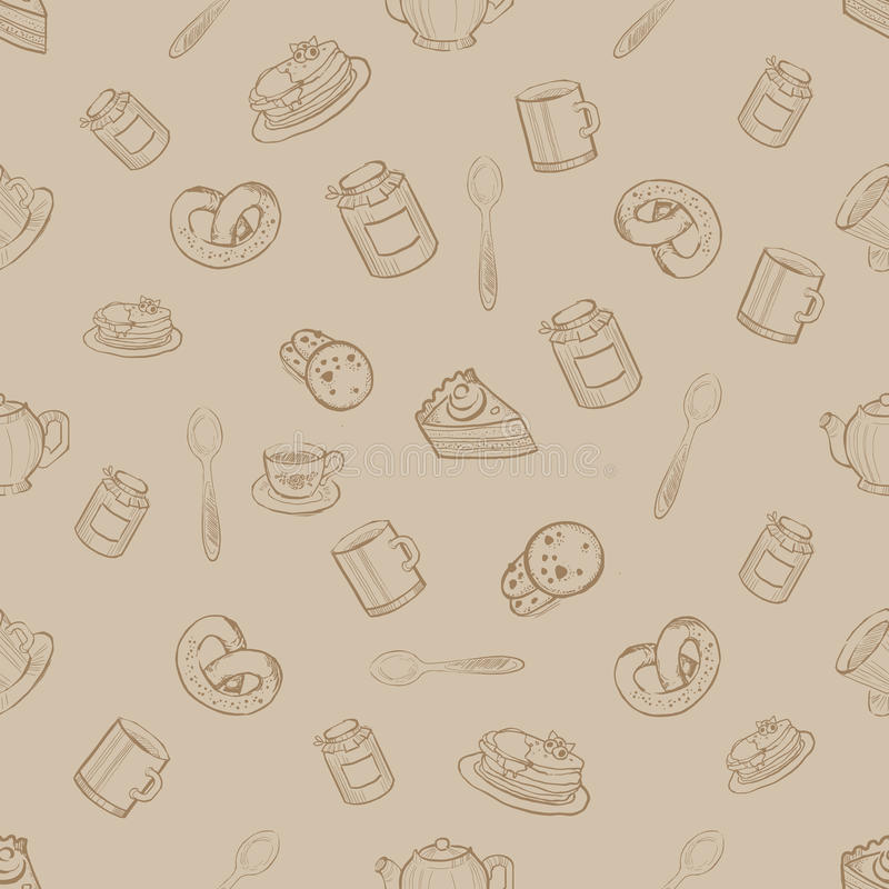 Modèle sans couture avec des bonbons et des desserts, illustration de vecteur illustration de vecteur