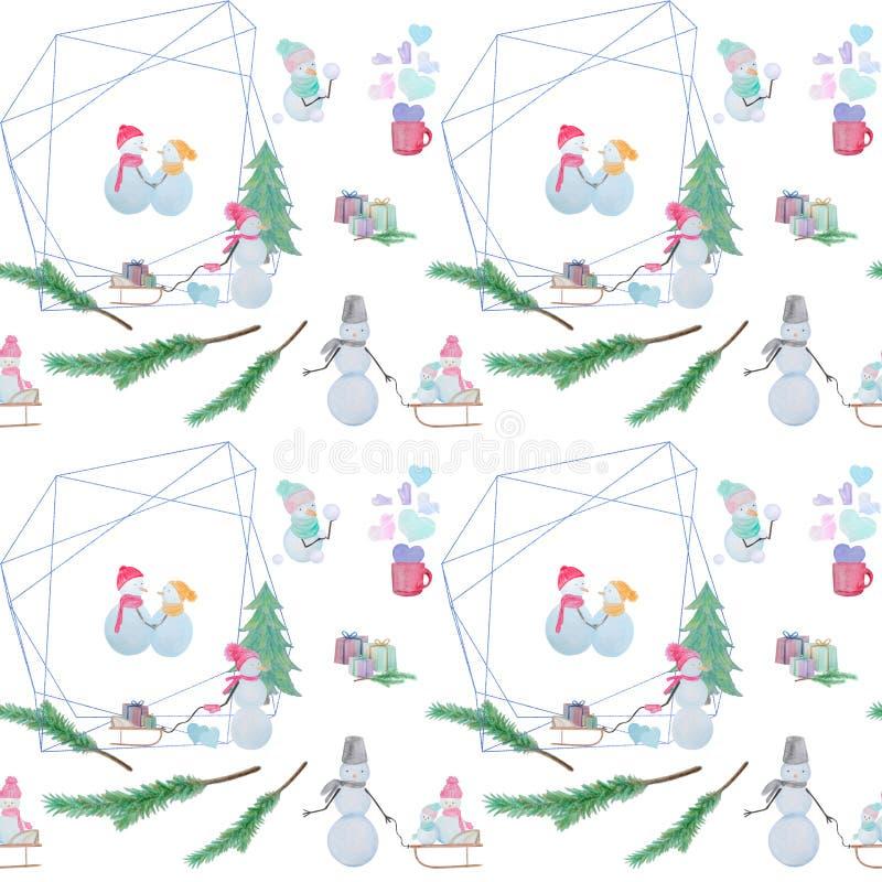 Modèle sans couture avec des bonhommes de neige avec les crayons colorés illustration libre de droits