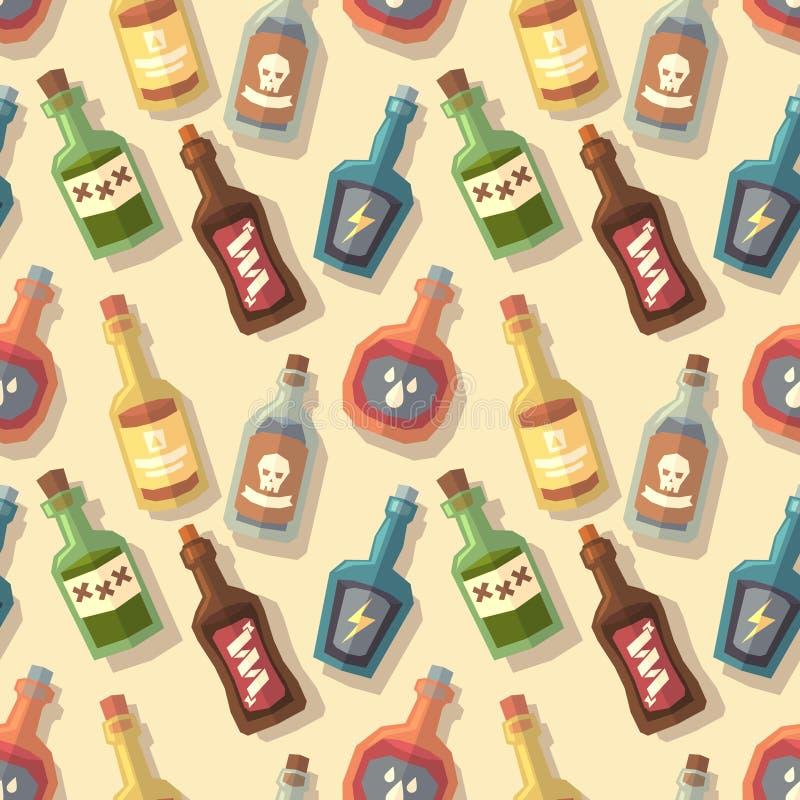 Modèle sans couture avec des bouteilles illustration stock