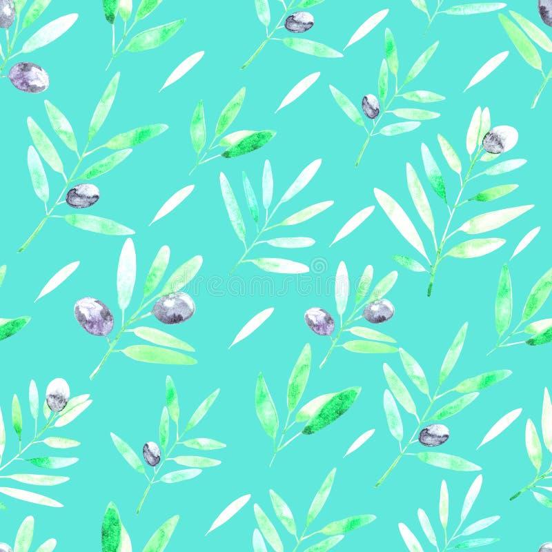 Mod?le sans couture avec des branches d'olivier d'aquarelle Illustration tir?e par la main illustration stock