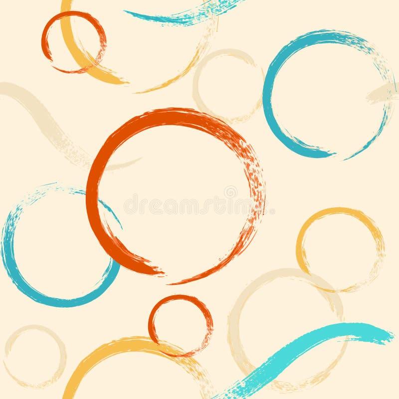 Modèle sans couture avec des cercles de brosse illustration stock