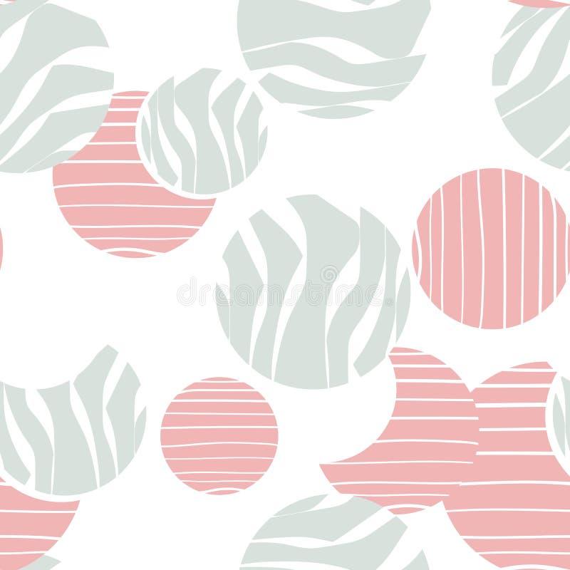 Modèle sans couture avec des cercles de griffonnage aléatoirement distribués, illustration d'abstraction de vecteur illustration stock