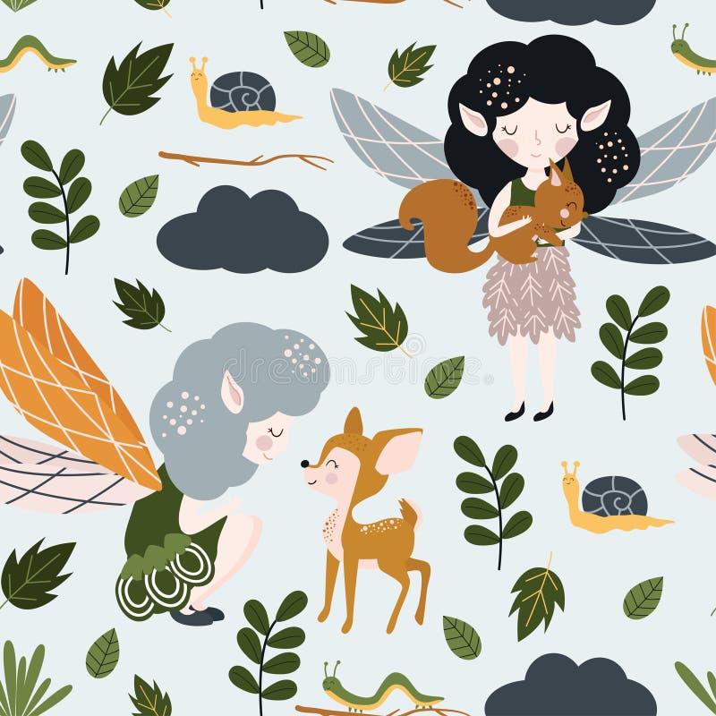 Modèle sans couture avec des cerfs communs de fée et de bébé de forêt - illustration de vecteur, ENV illustration stock