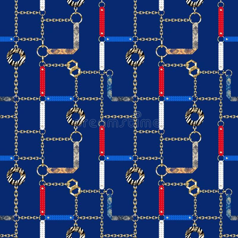 Modèle sans couture avec des chaînes, des courroies et des éléments décoratifs sur le fond bleu illustration stock